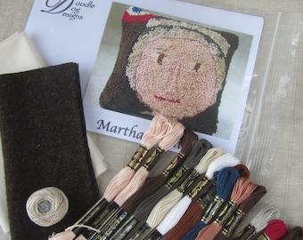 Primitive Punch Needle KIT ~ Martha Washington ~ Bowl Filler ~ Patriotic Folk Art - Punchneedle Pattern - Americana Needle Punch