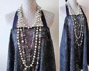 Bohemian backless dress in vintage dark blue lace. Stevie Nicks style hippie dress, festival poncho dress. Romantic boho gypsy beach dress.
