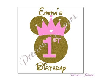 Personalized gold and pink  Minnie Mouse iron transfer image  gold glitter and pink Minnie mouse minnie mouse birthday t-shirt transfer