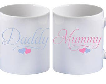 Pair of Mummy Daddy Heart Mugs | Can be Personalised | Tea/Coffee Cups | 11/10oz/Bone China/15oz Large Mug/Gift/Father/Mother