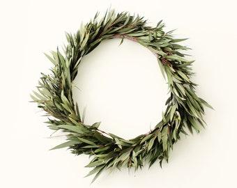 Eucalyptus hair crown, Boho bridal wreath, Teardrop eucalyptus, Preserved greenery headpiece, Green leaf bridal crown, Wedding hair wreath