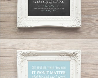 Personalized Teachers Gift One Hundred Years From Now Inpirational Quote Print Unique Idea Teacher Appreciation Gift Chalkboard Print CANVAS
