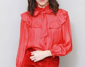 Vintage 1970's Red & Gold Gingham Ruffled Blouse