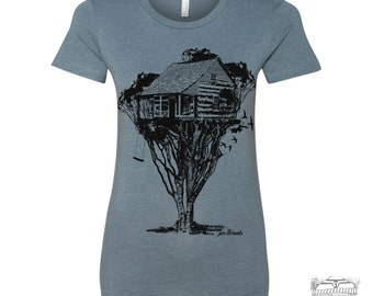 Womens TREEHOUSE Cabin t shirt -hand screen printed s m l xl xxl (+ Colors Available) custom