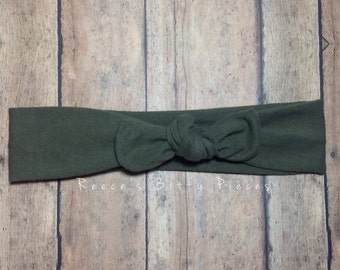 Top Knot Headband || Olive Green on Cotton Jersey Knit Fabric || Knotted Headband