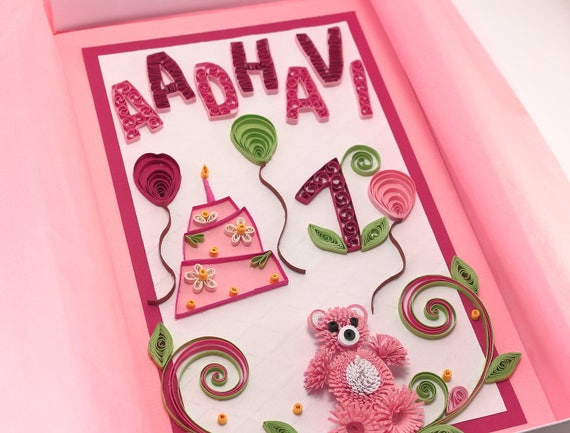 Personalized 1st birthday card baby girl first birthday card personalized 1st birthday card baby girl first birthday card personalised quilling card with age and name one year old card handmade bookmarktalkfo Images