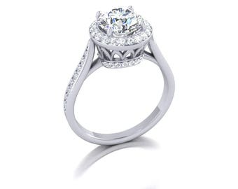 diamond halo moissanite engagement ring, in 14k white gold, style 18WDM