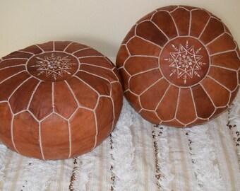 Set of 2 Leather poufs, ottoman luxury floor poufs, moroccan home decor,moroccan pouf color tan