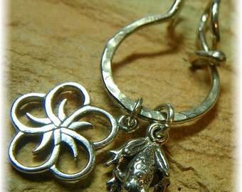 Sterling Silver Thick Organic Vine Charm Holder for Your Own Charms - Handmade to Order