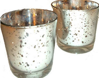 Pair of Silver Mercury Glass Candle Holders