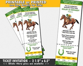 Kentucky Derby Party Ticket Invitation, Printable with Printed Option, Horse Racing Party, Equestrian Theme, Design #2