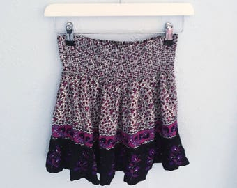 Vintage Purple floral high waist mini skirt small