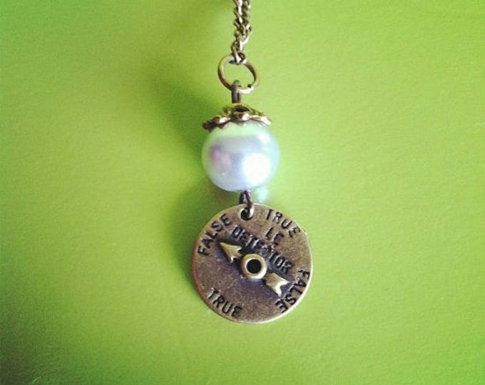 Grey Pearl lie detector brass chain necklace