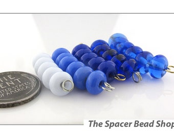 BEAUTIFUL BLUES HALF Bead Sets Lampwork Spacers Glass Handmade - The Spacer Bead Shop