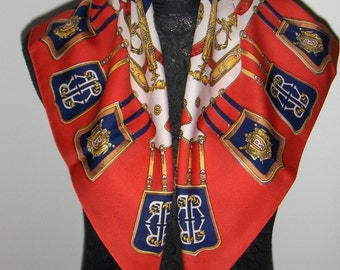 Vintage scarf with letter R/ Head scarf in red, blue, white and yellow