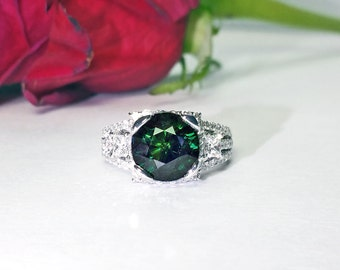 5 ct Blue Green Sapphire & Diamond Ring in 18K White Gold / Unique Estate Engagement Ring / De Luna Gems / Free Shipping!