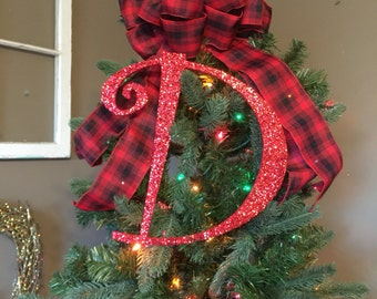 "Decorative 12"" Red Monogram Christmas Tree Topper, Letter Wreath, Initial, Wedding Decor, Holiday Decor, Front Door Letter,"