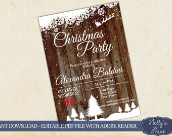 Christmas Party Invitations Rustic Christmas Invitation Self Editable PDF Instant Download Christmas Invitation Printable Winter Invitation
