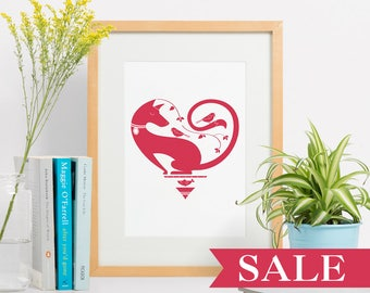 "Heart Print, Wall Art, Nursery Decor, Animal Print, Letterpress, Gift for Her, Home Decor, Modern art, Cranberry ""8x10"""