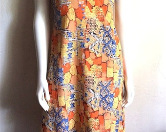 Vintage Women's 70's Maxi Dress, Printed, Polyester, Short Sleeve, Full Length (S)