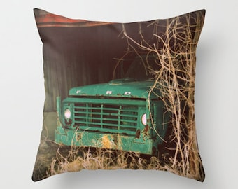 Throw Pillow Cover Ford Truck Aqua Green Teal Turquoise Barn Rustic Farmhouse Livingroom Couch Sofa Photo Case Home Bedroom Decor