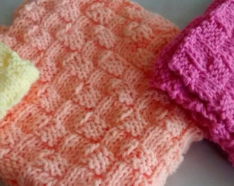 Knit Doll Blanket, Doll Blanket, Pastel Baby Blanket