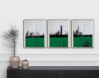 Set Of 3 Boston Celtics Dictionary Prints Boston Skyline Celtics Poster  Panorama Boston Panoramic Print Boston Celtics Wall Art Boston Decor