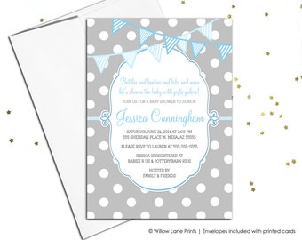 Baby shower invitations for boys - boy baby shower invite - printable invitation - gray and blue - polkadots - baby shower ideas - WLP00766