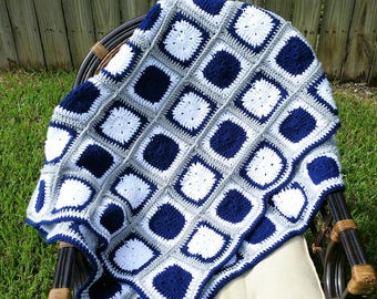 Dallas Cowboys Inspired Blanket - Granny Square - Hand Crocheted