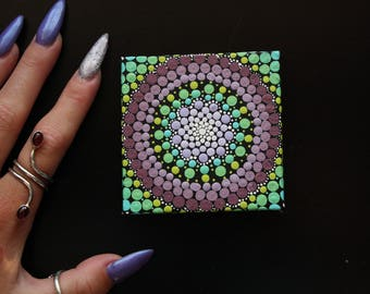"Hand painted purple and green mandala on canvas 3"" x 3"" dot pointillism art"