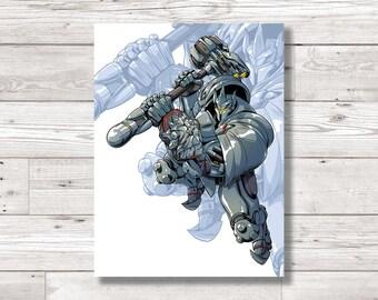 Overwatch 'Reinhardt' Character Fan Art Print, Digital Art Print, Original Art Print, Digital Print
