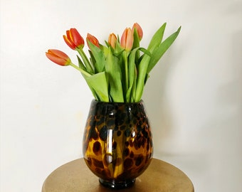 Vintage Tortoise Glass Flower Vase