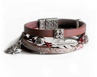 Multi strands leather, Burgundy rose, swarovski bracelet