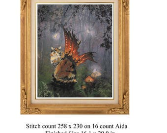cat cross stitch, calico cat, calico cross stitch, calico cat fairy, cat fairy, fairy cat,