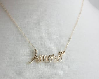 14K Gold Fill Amore Necklace, Paris Theme, French Word Necklace, Love Necklace, Word Necklace, Personalized Name Necklace, French Jewelry