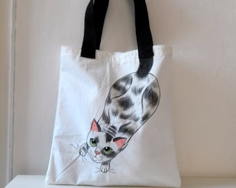 Cat  Tote Bag, Handpainted Cotton Tote