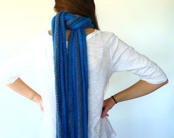 Blue chunky knit scarf. Unique handmade scarves. Knitted scarf. Gift idea for her