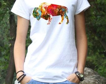 Colorful Tee - Bison T-shirt  - Fashion Tee - White shirt - Printed shirt - Women's T-shirt