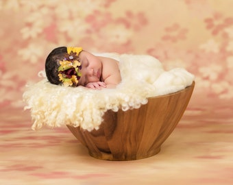 Newborn Digital Backdrop, digital backdrops for newborn photography, wooden bowl with white flokati