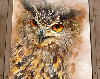 OWL Gifts - Eagle Owl Art - Owl Gift for Man - Owl Home Decor - Owl Print - Owl Painting - Owl Pictures - Owl Drawing - Owl Art Print