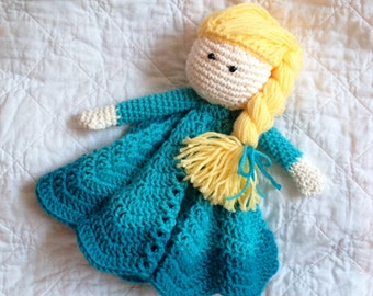 Elsa Inspired Lovey/ Security Blanket/ Plush Doll/ Stuffed Toy Doll/ Soft Toy Doll/ Amigurumi Doll/ Frozen Doll-  MADE TO ORDER