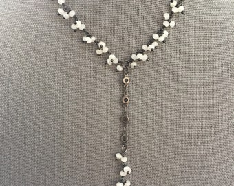 White chalcedony dangle chain necklace