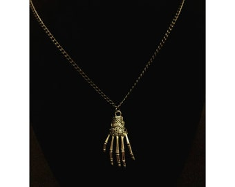 Skeleton hand necklace, hand necklace, skeleton, Halloween jewelry, skeletal hand necklace, silver skeletal hand necklace, creepy jewelry