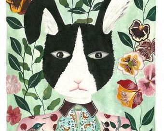 Art print, rabbit, home decor, children, fine art, Illustration ,art, décor, drawing, watercolor, painting