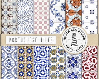 Tiles Digital Paper, Azulejos Paper, Azulejos Patterns, Portuguese Tiles, Tiles Paper, Azulejos Mosaic Patterns, BUY5FOR8