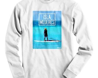 LS Isla Mujeres Photo V1 Tee - Long Sleeve Mexico T-shirt - Men and Kids - S M L XL 2x 3x 4x - Mexico Shirt, Cancun, Beach - 1 Color