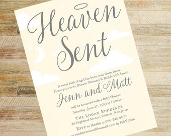 Heaven Sent Baby Shower Pale Yellow Invitations / Baby Shower Book Cards / Halo Baby Shower Invites / Diaper Raffle Tickets / PRINTED