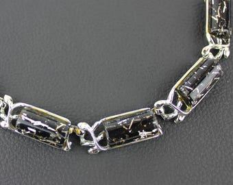 Black & Silver Glitter Confetti Resin Vintage Necklace