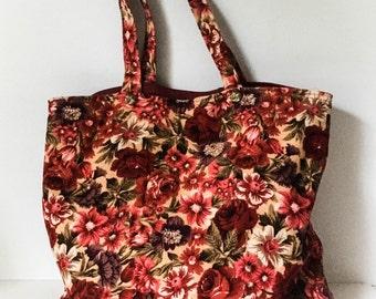 Corduroy Tote Bag - Red floral tote bag - Vintage tote bag - Granny tote bag - Vintage home made tote bag