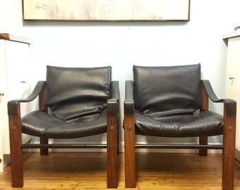 Pair Of Maurice Burke For Arkana Safari Sling Club Chairs Black Seats Wood  Frame